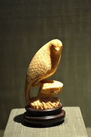 ivory: Ivory carved of bird ornament Editorial