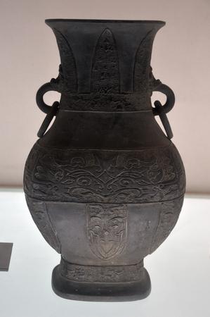 a copper: Dinast�a Qing antigua olla de cobre