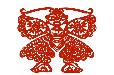 cutting: Chinese style paper cutting- Butterfly Fairy Stock Photo