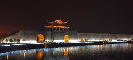 moat wall: Ancient city wall at night
