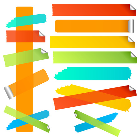 Bright colourful labels or strips. Torn and curled edge variations included.  Illustration
