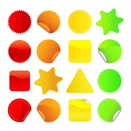 Bright stickers for web, presentations or computer applications.  Red, orange, yellow and green variations included.
