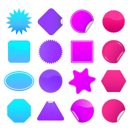 Bright stickers for web, presentations or computer applications. Blue, purple, violet and magenta variations included.