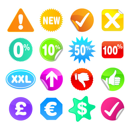 Bright stickers for web, presentations or computer applications.  Various shapes and common symbols included. Vector