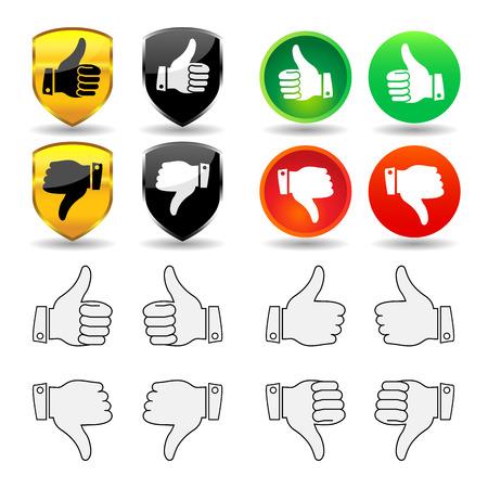 Selección de iconos de pulgar y distintivos, con pulgar apuntando hacia arriba y hacia abajo para el derecho y la mano izquierda. Ilustración de vector