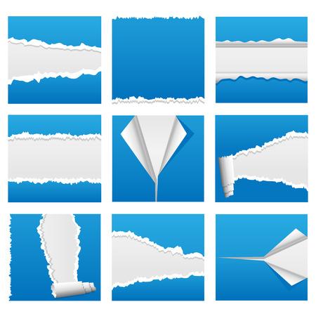 Desgarrado por elementos de diseño de documento para web, presentaciones o aplicaciones informáticas. RIP, desgarro y pelar las variaciones incluidas.  Ilustración de vector