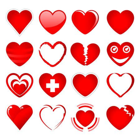 Set of red hearts in different shapes and styles on a white background Illustration
