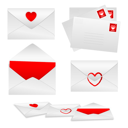 White envelopes with red hearts and love stamps