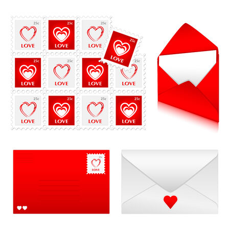 Red and white envelopes with love stamps Иллюстрация