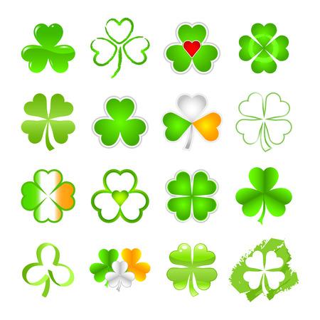saint patty: Il trifoglio emblema o il simbolo in una selezione di disegni  Vettoriali