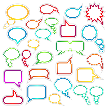 indicate: Set of speech bubbles and thought clouds used to indicate communication and dialog