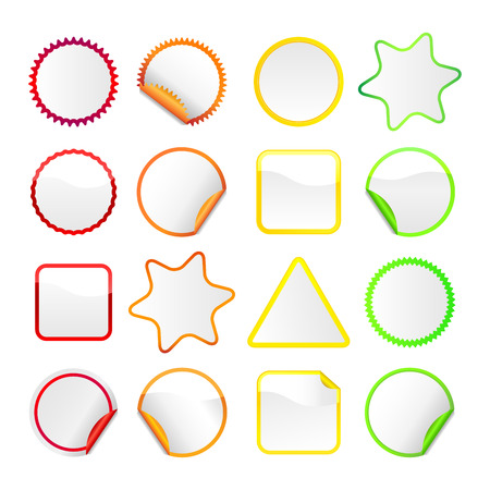 White stickers in various shapes with colored borders. Some have curls on the edges. Illustration