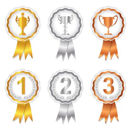 Gold, Silver en Bronze rosette badges met trofee en plaats nummers voor 1ste, tweede en derde