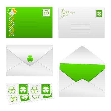 St. Patrick's Day envelopes with shamrock stamps and celtic design