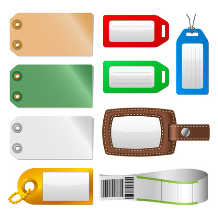 travel luggage: Set of luggage tags and labels.