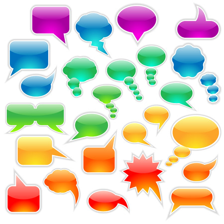 conversing: Set of speech bubbles and thought clouds used to indicate communication and dialog.