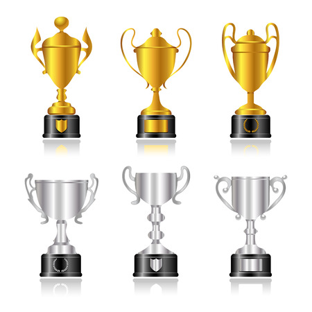 Gold and silver trophies or cups with black bases. Vector