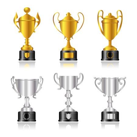 1 place: Trofeos de oro y plata o tazas con bases negros.