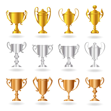 trofé: Gold, silver and bronze trophies or cups.
