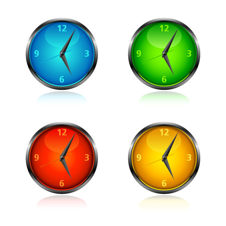 Set of four coloured clocks in blue, green, red and orange. Иллюстрация
