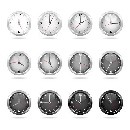dia y noche: Conjunto de relojes que muestra a veces por hora del d�a a la noche.