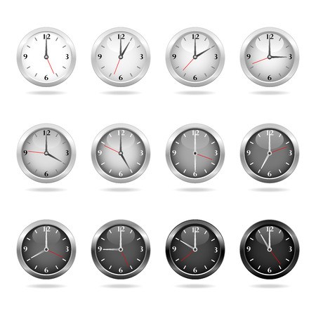 time of the day: Set of clocks showing hourly times from day to night.