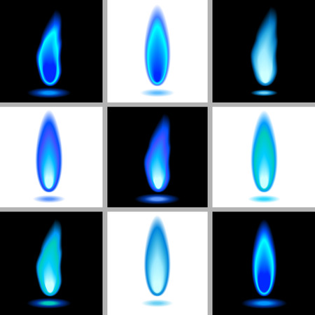 gas burner:  flames in blue.