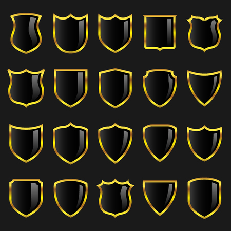 Set of black badges or shields with gold borders suitable for use in heraldry or design layouts.