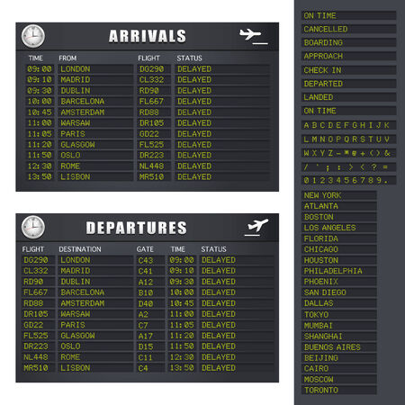 arriving: Flight Information board showing delayed flights.