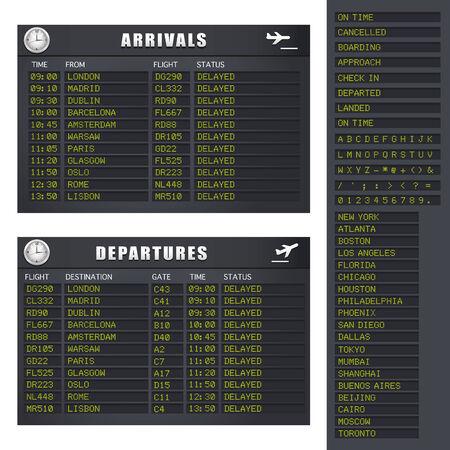 the delayed: Flight Information board showing delayed flights.
