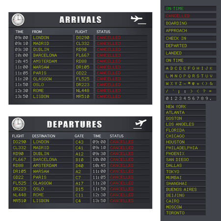 departing: Airport flight information board showing cancelled flights.