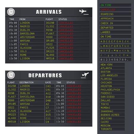 Flughafen Flug-Informationstafel zeigt abgebrochen Flüge.
