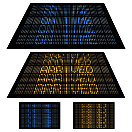 LED boards, similar to airport flight information boards, showing On Time and Arrived information.  Illustration