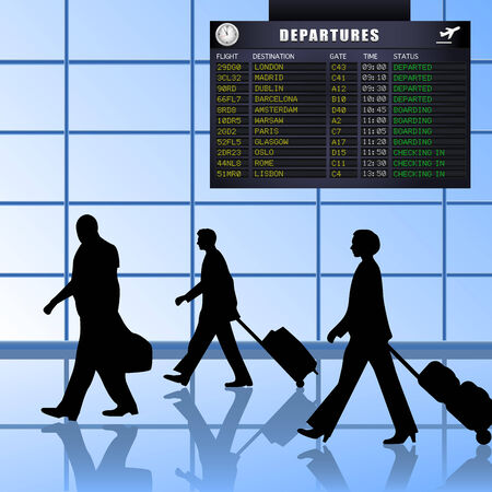 passenger airline: Airline passengers with luggage walking past a flight departures information board. Illustration
