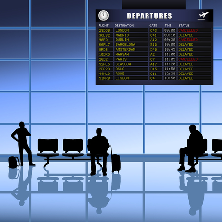 depart: Airline passengers with luggage waiting for delayed flights to depart.