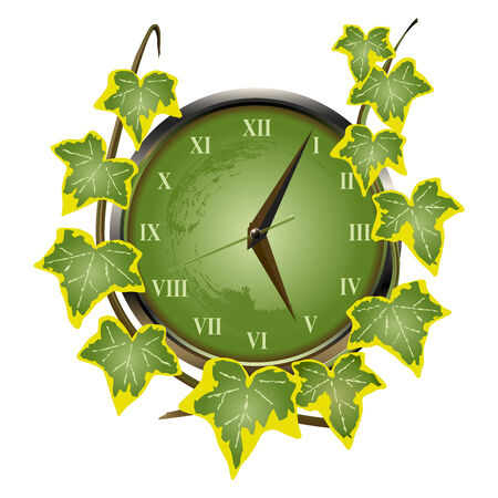 Green clock overgrown with ivy suggesting the passing of time.