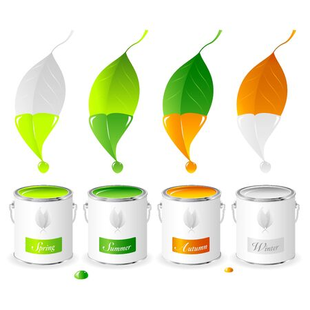 dipping: Four leaves dipped in paint cans containing colours representing the four seasons, Spring, Summer, Autumn and Winter.