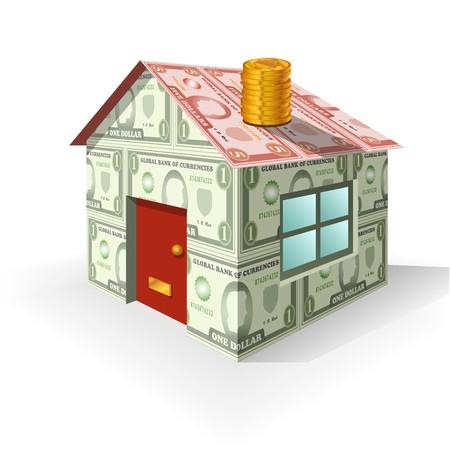 stack of cash: Una casa hecha de dinero como un concepto sobre el valor de la propiedad.