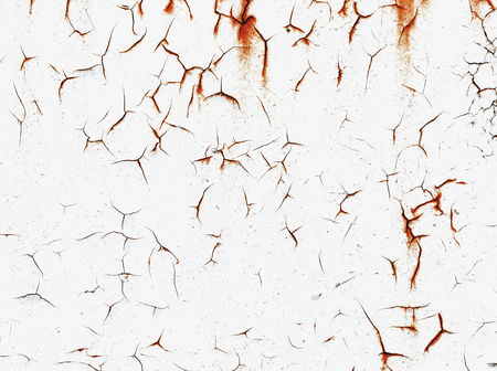 Texture of white painted, corroded metal. Metal wall background with streaks of rust. The rust spots, texture.