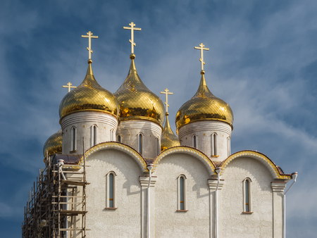 Construction of the Orthodox Church. The Holy Ascension Church of the Elizaveta Monastery in Kropyvnytskyi, Ukraine.