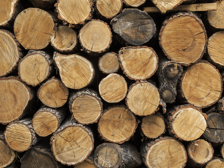 Chopped firewood. Background of firewood stacked and prepared for winter. Close up pile of wood logs. Chopped firewood in a stack. Фото со стока