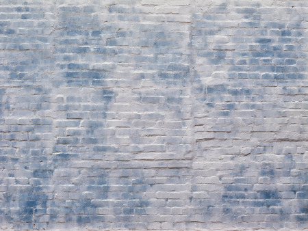 Texture, abstract background, painted white and blue color brick wall.