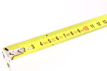 A centimeter Tape Measure on white background Stock Photo