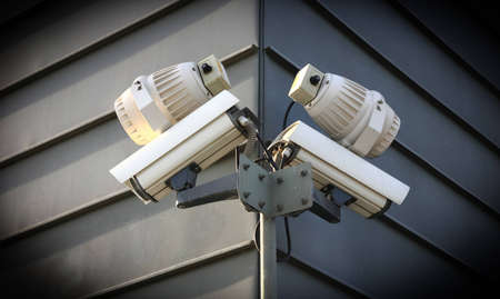 Security cameras in a building photo
