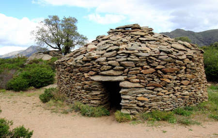 drystone: Medieval dry-stone hut in North of Catalonia, Spain. Stock Photo