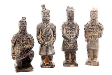 imperialism: Ancient terracotta sculptures of Chinese warriors in Xian isolated on white. Stock Photo