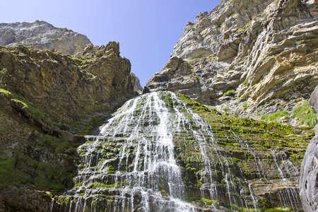 ordesa: View of Cola de Caballo (horsetail), a very nice cascade in Ordesa National Park, Aragon, Spain.