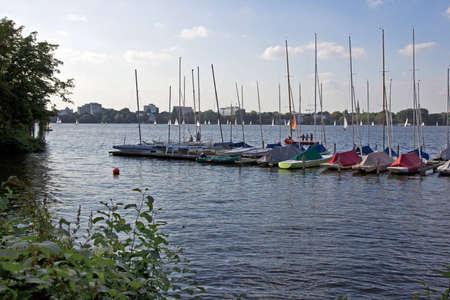 waterside: Sailboats at Alaster lake in Hamburg  Stock Photo