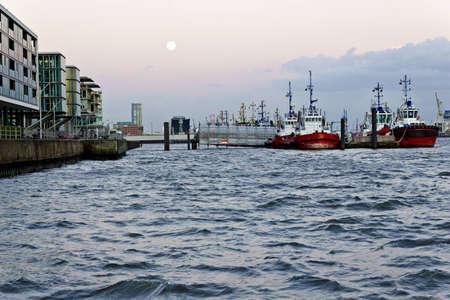 Moored tugboats in the harbor of Hamburg.
