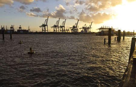 hamburg: Cranes of Hamburg port, Elbe river in Germany.
